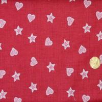 Tissu Noël coeurs et étoiles  scandinaves