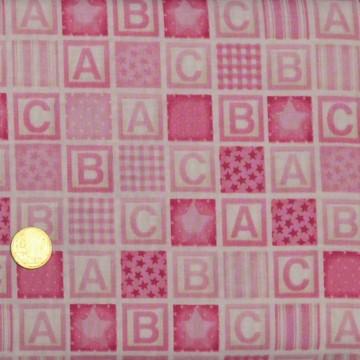 Tissu ABC rose Makower