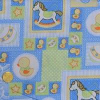 Tissu patchworK Cheval à bascule  bleu