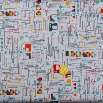 Tissu   patchwork Galaxy circuit Board  de makower