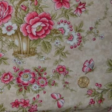 Tissu Fleurs et Papillons