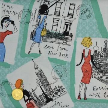 Tissu Vavation Postcards  de Makower