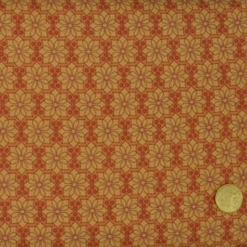 Tissu Rosace orange  Makower