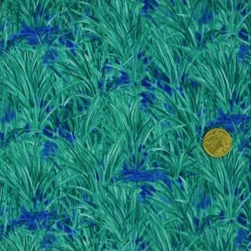 Tissu  herbes turquoise Blank