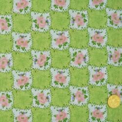 Tissu Damier  de fleurs