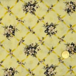 Tissu Quadrillage de fleurs Blank Textile