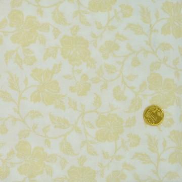Tissu Faux uni Blanc fleurs écrues