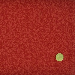 Tissu faux uni fleuri rouge