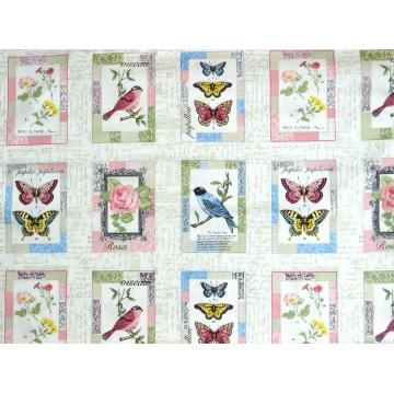 Tissu Vintage oiseaux et Papillons  Makower