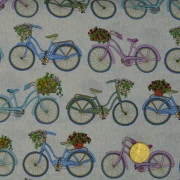 Tissu Antique Garden Bicycles  Makower